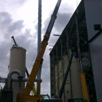 Lifting silos out from the building